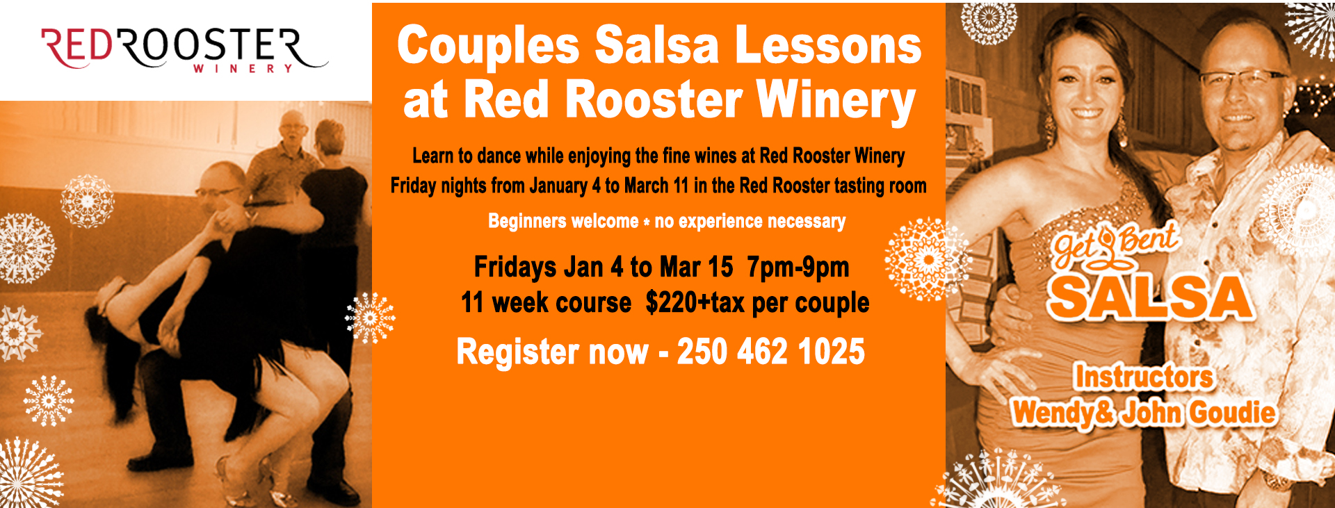 Get Bent Salsa Classes Lessons Penticton at Red Rooster Winery